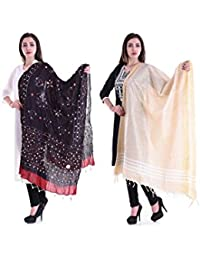 Apratim Women Bhagalpuri Silk & Cotton Dupatta Combo Pack Of 2 Set - B075BW3Z8G