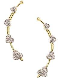 Jewels Guru Gold White Brass Silver Cuff Earring For Women