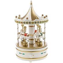 Generic Carillon Carosello Di Cavalli Di Legno Regalo Di Natale Giocattolo Musicale Per Bambini - bianca, 24 x 12,5 centimetri