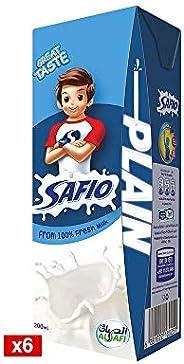Safio UHT Plain Milk, 6 x 200ml