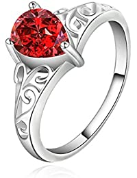 sunifsnow Mujer Cute Beautiful, color rojo Crystal Calado Anillo