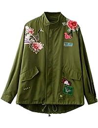 Minetom Coat Jacket Para Mujer Clásico Bombardero Chaqueta Moda Bordado Flores Pájaros Verde Militar Estilo De