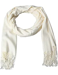 EOZY Casual Solid Color Soft Cashmere Winter Men Warm Tassels Shawl Scarf White