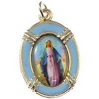 2.5cm dorati blu vergine Maria medaglia miracolosa Cattolica ciondolo per rosari - Miracolosa Vergine