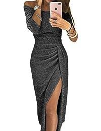 FIYOTE Robe Femme Maxi Épaule Dénudée 3/4 Manches Robe Soirée Couleur Unie S-XL(36-50)