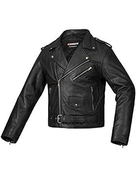 Bohmberg - Chaqueta de motociclista 100% cuero para hombre
