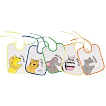 Playshoes 25 X 20cm Tie Bibs Zoo Animals on the Back Foil Underlay (Pack of 5)