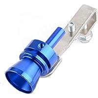 Vosarea Coche de Aluminio Turbo Sonido Tubo de silbido Tubo de Escape Válvula de Descarga Simulador Tamaño M Azul
