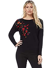 f8eb24aae4b Roman Originals Women Floral Embroidered Jumper - Ladies Boat Wide Round  Neckline Batwing Loose Long Sleeve