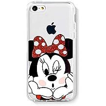 IP5C TPU Funda Gel Transparente Carcasa Case Bumper de Impactos y Anti-Arañazos Espalda Cover, Glitter Special Colección Collection, Disney Minnie Mouse, iPhone 5C