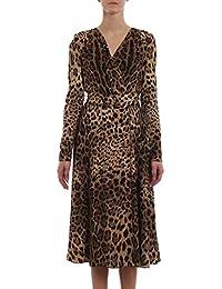 Dolce E Gabbana Vestito Donna F69F3TFSRKIHY13M Seta Marrone 5dfc28d9248