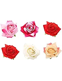 Sanjog Fabric Multicolor Vintage Rose Hair Flower Clip And Pin Brooch Pin For Women /Girls (Pack Of 6)