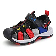 JIANKE Boys Sandals Closed Toe Sports Outdoor Summer Beach Shoes Black Red 10 UK Child