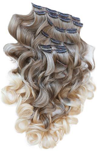PRETTYSHOP XL 7 Teile Set Clip in Extensions 60cm Haarverlängerung Haarteil gewellt Ombré Two-Tone braun blond #12T613 CE20-1 (Clip Haar Ombre, Extensions In)