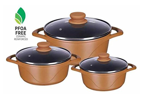 Alda Die Cast Non-Stick Cookware 3 Pieces Set (Blossom Brown)
