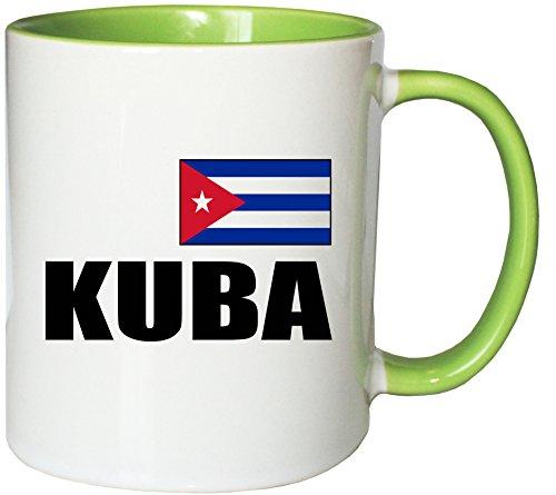 Mister Merchandise Kaffeetasse Kuba Fahne Flag Teetasse Becher, Farbe: Weiß-Grün