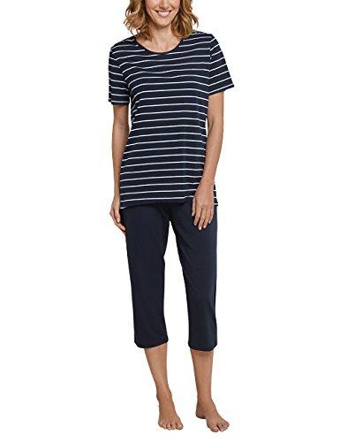Schiesser Damen Zweiteiliger Schlafanzug, Blau (Gestreift Nachtblau 804), 46 (Herstellergröße: 046) (Nacht Für Anzug Frauen)