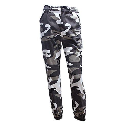 Mxssi donna uomo a vita alta demin pantaloni mimetici moda jean pantaloni matita militare camo pantaloni matita grigio l