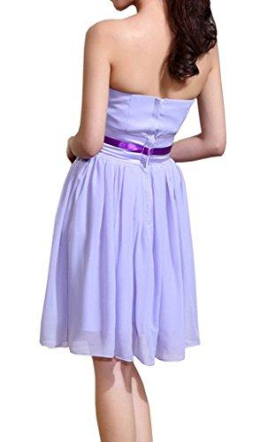 Eyekepper feste traegerlos Bogen A-line Mini Brautjungfer Kleid Lila