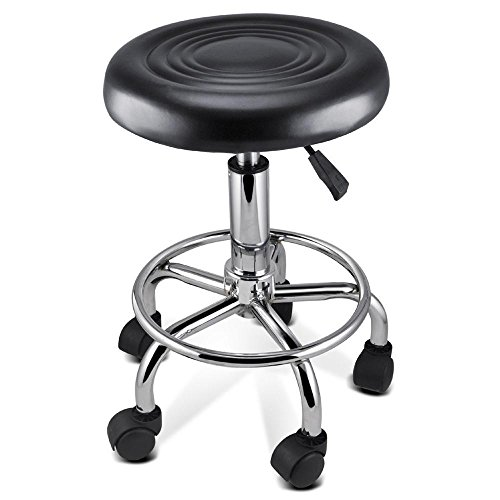 Yaheetech Faux PU Leather Round Salon Massage Chair Adjustable Swivel Hydraulic Gas Lift Stool for Hairdressing Manicure Tattoo Therapy Beauty Massage Spa Salon, Black Test