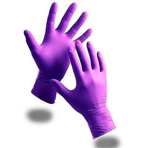 Violet 100x Extra Fort sans poudre Gants jetables en nitrile–Stylo anti-bactérien TCH offert., violet, Taille M