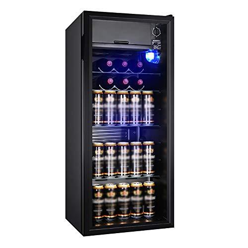 Thekenkühlschrank Schwarz |98L Wein- Und Getränkekühlschrank |Glastürkühlung Weinschrank |LED Leuchtet |7 Getriebe Einstellung |Geringer Energieverbrauch -