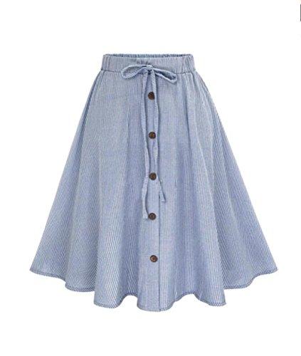 Damen Rock, BBring Frauen Streifen Hohe Taille A-Linie Bowknot Midi Rock Elegantes Faltenrock (Blau, M) (Damen Rock Design)