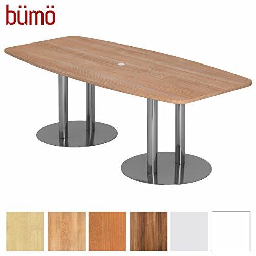 Bümö Konferenztisch rund oval 220 x 103 cm in Nussbaum | Besprechungstisch mit Chromsäulen |...