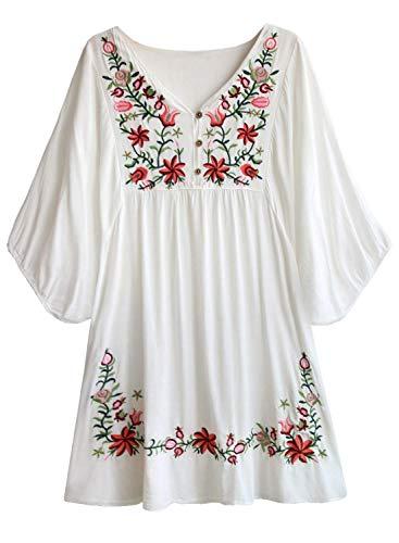 Doballa Damen Boho Tunika Hippie Kleid Gestickt Blumen Mexikanische Bluse, Weiß, XL