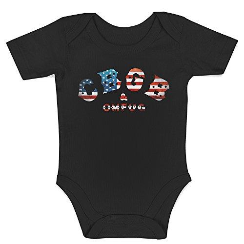 Punk-baby Onesies (LaMAGLIERIA Jersey Body für Babys CBGB Usa Flag - Onesie Punk Rock 100% Baumwolle Body, 3-6 Monate, Schwarz)