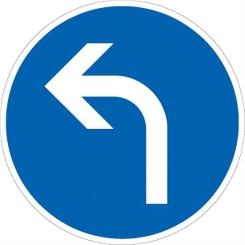 Verkehrszeichen VZ209-10, Vorgeschriebene Fahrtrichtung links, Alu, RA1, Ø 42cm Verkehrsschild