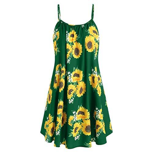 Frauen Elegant Sonnenblume Drucken Ärmellose Kleid Sportlish Shirt Kleid Casual Swing Kleid Boho Strandkleid Cocktails Party Abendkleid Cami Tops ()