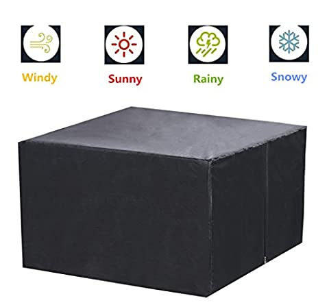 Black Durable Waterproof Outdoor Furniture Cover For Garden Patio Table Cabinet Large Rectangular Cases Shelter 200x160x70cm (UK