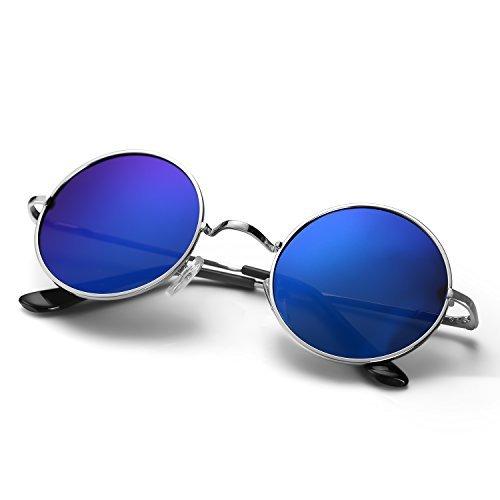 Menton Ezil Lennon Polarisierte UV-Schutz Runde Retro Vintage Hippi blaue Schwarz Linse Gold frame Metall Brillenfassungen Gestell Outdoor für Frauen und ()
