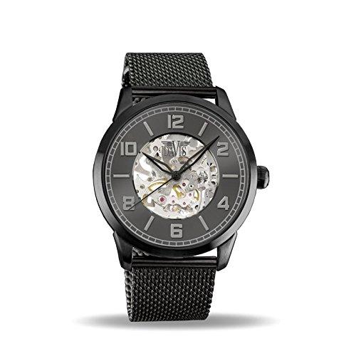 Davis Reloj Esqueleto para Unisex Adultos de Mecánico con Correa en Acero Inoxidable 2162