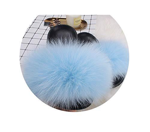Real Plush Faux Fox Fur Slides Women Summer Slippers Beach Fluffy 100% Flip Flops Sandals Shoes,Light Blue Fur,11 Stiletto Heel Ankle Tie