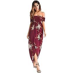 antaina Estampado de Flores Rojas del Partido del Hombro Sexy Maxi Largo Vestido de Playa de la Tarde de Las Mujeres,M
