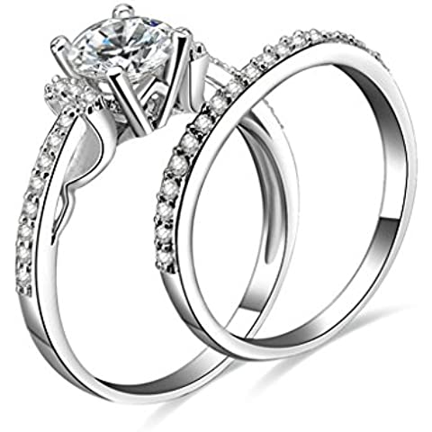 (Personalizzati Anelli)Adisaer Anelli Donna Argento 925 Anello Fidanzamento Incisione Gratuita Ovale Doppio Anello Diamante Promise Rings