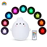YISSVIC Luce Notturna LED per Bambino 9 Colori 10 Livelli Luminosità Modalità Touch e Timer Lampada in Silicone Multicolore Controllo Remoto Ricaricabile Regalo per Bambini (Versione Aggiornata)
