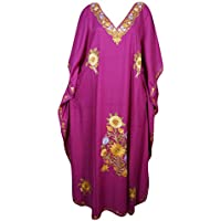 Mogul Interior Womens Kaftan Maxi Dress Caftan Embroidered Lounger Housedress Resort Wear OneSize