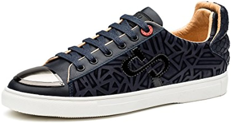 OPP Herren Casual Leder Flache Schuhe Schnürhalbschuhe Sneaker Einzigartige Marke Design