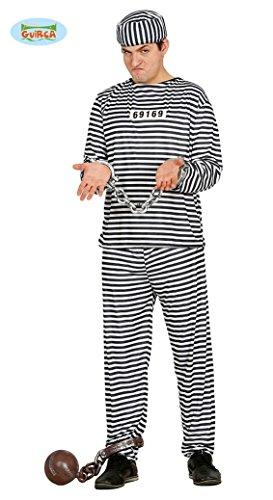 Sträfling Gefangener Kostüm für Herren Gr. M/L, (Kostüme Gefängnis Halloween)