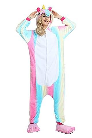 Youson Girl® Cosplay Unisexe pour Adultes Pyjamas de Licorne Vêtements Flanelle Costume de Halloween Déguisement Soirée (XL: Hauteur (69.7inch-72.8inch / 177cm-185cm), Arc en ciel)