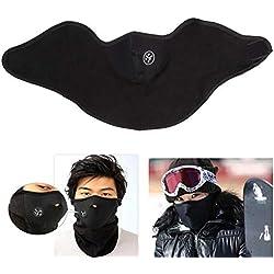 2PCS Hiver Chaud Polaire Balaclavas Ski Vélo Demi Masque Couverture Sport en Plein Air Coupe-Vent Cou Garde Foulard Chapeaux Masques en Néoprène,Black