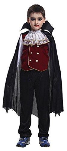 EOZY Kinder Jungen Vampir Kostüm Halloween Cosplay Kostüme Costüme Körpergröße 120-130cm (Vampir Kostüm Für Jungs)