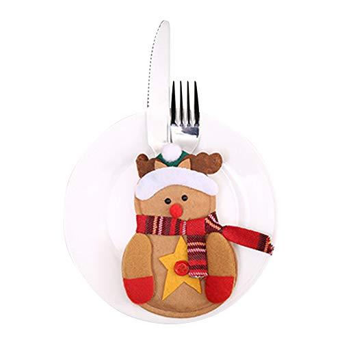 Xiton 6pcs Bolsillo sostenedor Plato Navidad Cubiertos