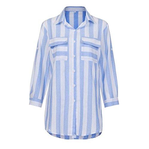 Jaminy Frauen Casual sexy V Neck Stripe Langarmshirts Blusen Plaid Shirt Tops FÜR Den Täglichen, Casual, Sport Lieblings Shorts, Leggings, Schwarze Hosen, Jeans (M, Blau)