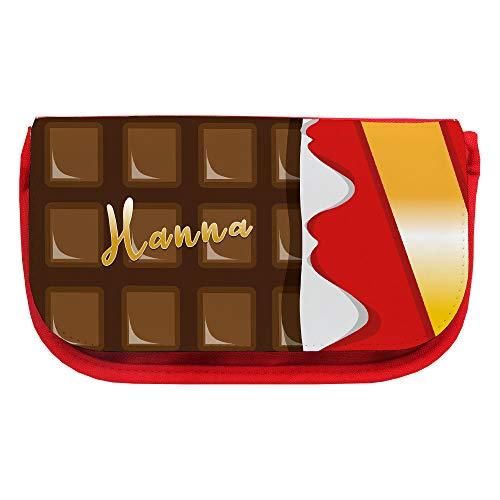 Kosmetiktasche mit Namen Hanna und Motiv mit einer Tafel Schokolade | Schminktasche | Viele Vornamen zur Auswahl
