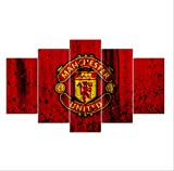 DPFRY Canvas Pictures Creative Manchester United Flag Sports Wall Posters Football Art Prints Pictures Boys Bedroom Decor 5 Pieces 150X100Cm Frameless