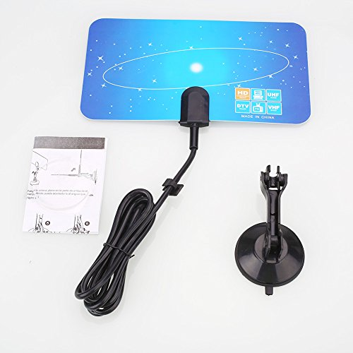 Flat Indoor Antenne (Jiayuane (EU-Stecker) Ultra-dünne Innen-Digital-TV-Antenne, Indoor Flat Design High-Gain-Digital-TV-Antenne Antenne HDTV DTV VHF UHF)